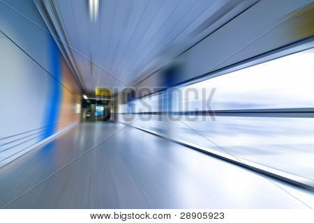 Abstract airport interior, blurred expressing movement.