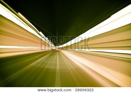 Blurred tunnel crossed at high speed