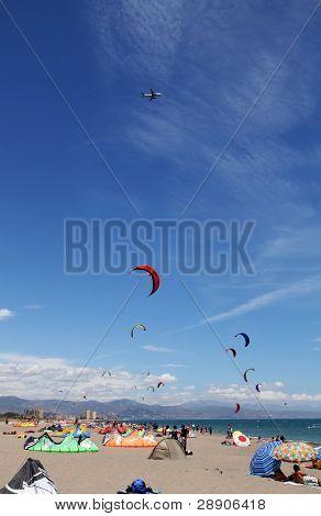 Kitesurfers reunion in an Andalusian beach