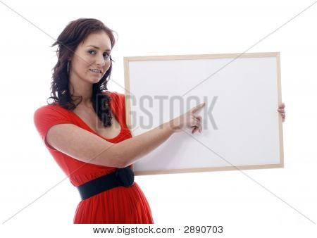 A Girl With Whiteboard Against White Background