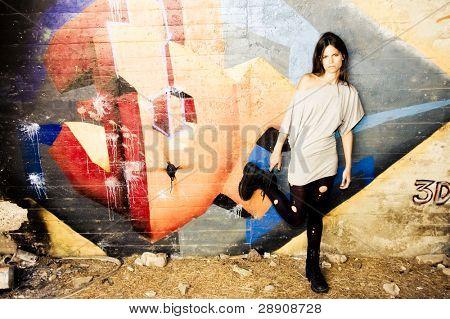 Rebel young woman staring at camera.