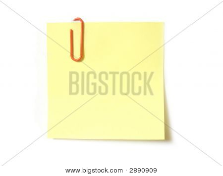 Yellow Sticky Note With Paper Clip