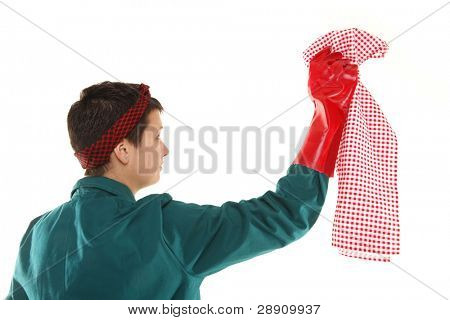 Housewife or domestic worker is cleaning with cloth