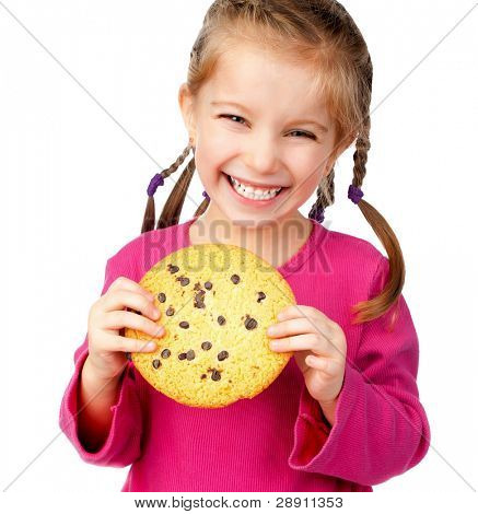 cheerful little girl with chocolate chip cookies