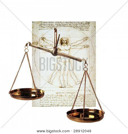 Vitruvian Man And Scales Of Justice - Signs And Symbols Of Human Existence