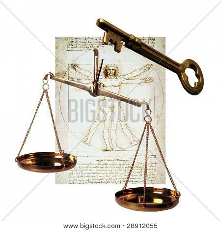 Symbols of human existence - Skeleton key, scales of justice, Vitruvian man