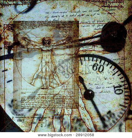Da Vinci's Vitruvian Man in composite with an old clock. A square image with a grunge feel.