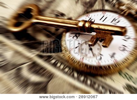 Pocket Watch, US Currency, And Skeleton Key with radial blur applied. Note: blur is intentional.