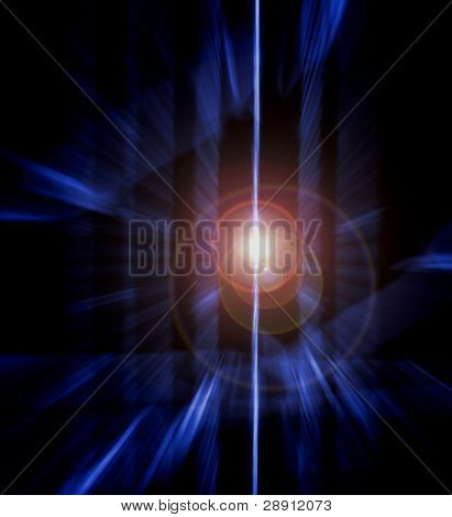White Light Abstract - a white light seems to emanate out of deep space. Lens flare adds interest.