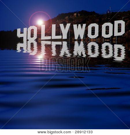 Hollywood Sign Reflexionen. eine Abstraktion der der berühmte Hollywood-Schild. Bild ist quadratisch.