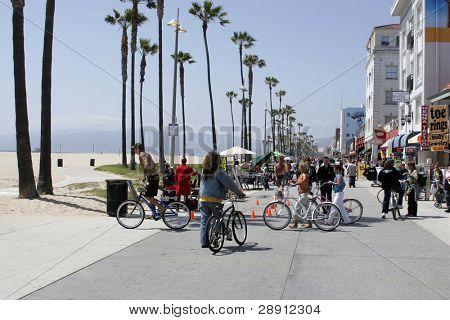 Venice Beach Scene - people walking, bikeriders, vendors