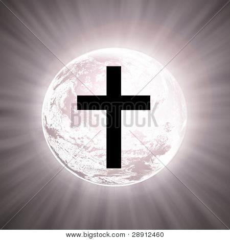A cross atop the planet with white light. Image is square