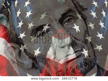 Symbols of American Patriotism - Abraham Lincoln and US flag.
