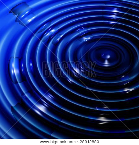Abstract Blue Concentricity - Ripples in blue water. Image is very large and square.