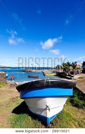 Blue And White Boat In Hanga Roa, Easter Island