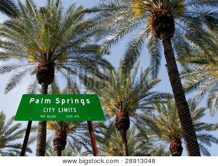 Welcome To Palm Springs. City limit sign with palm trees in the background.