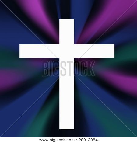 White Cross Over A Colorful Background Of Blurred Lights. Symbol of religion and faith. Square image.