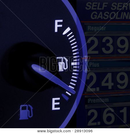 Gas price composite.  High fuel prices and an empty car fuel gauge.