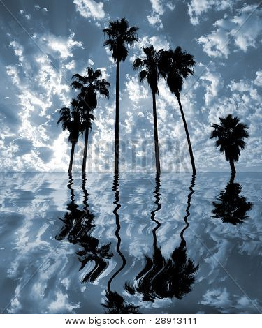 Palm Desert Mirage - Tall Palm trees and reflections in an abstraction.
