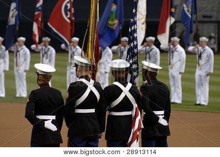 United States Marine Corps Colorguard during a sporting event