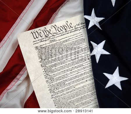 We The People - Portrayal of American Beginnings. US Constitution and Betsy Ross flag.