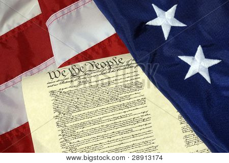 We the people - US constitution and first American flag