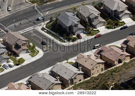 Aerial view of houses in a middle class tract