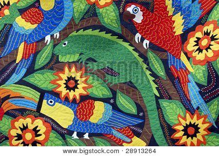 Rain-forest tapestry - vibrant iguana, Parrotts.