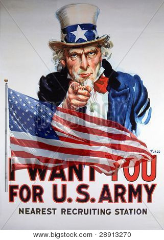 "Vintage ""I Want You For US Army"" Uncle Sam recuiting poster and American flag composite."