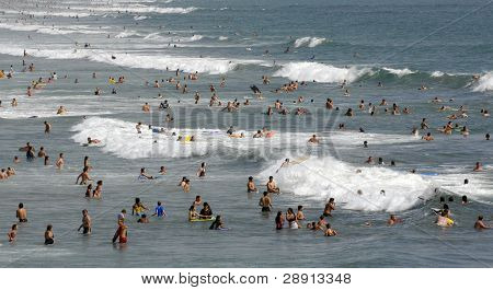 Hundreds of people enjoying the Southern California beach and Pacific Ocean