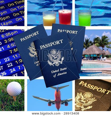Travel And Tourism Paneled Composite with United States Passport in foreground.