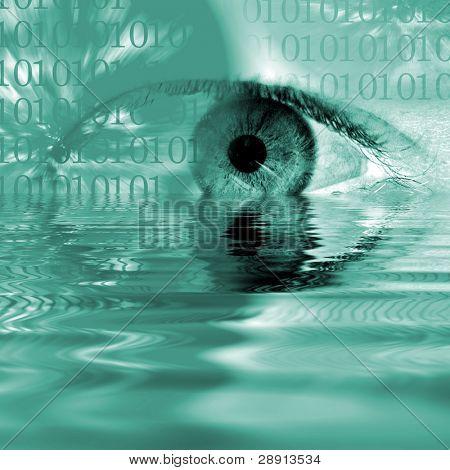Imagen abstracta en tonos azules de un ojo humano y los números binarios se refleja en el agua.