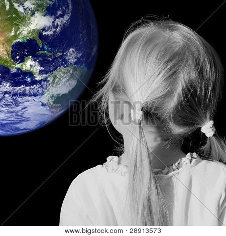 Little Girl Dreaming - female in black and white, earth colored. Earth courtesy of NASA via public domain