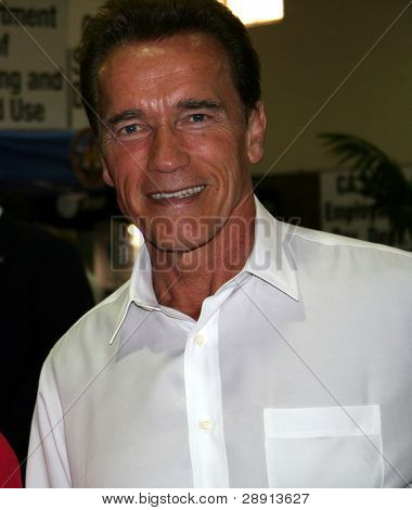 Actor Arnold schwarzenegger is happy and smiling - in 2007, he's the Governor if the US state of California.