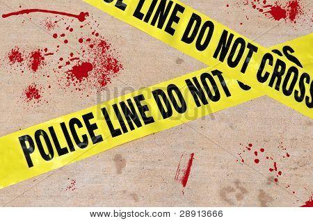 Blood splattered ground - Police Line Do Not Cross