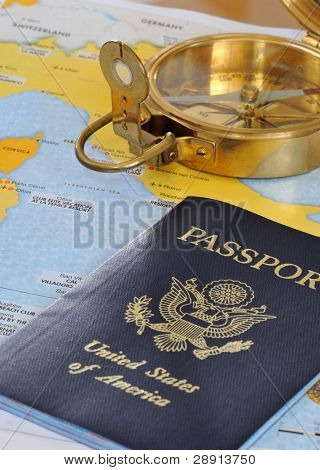 Getting Ready To Travel - Passport and compass