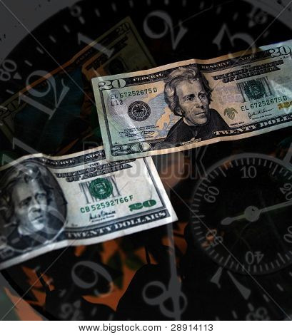 Time and Money concept image. Clock face and US currency.