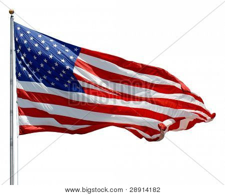 American Flag waving in a breeze over a white background