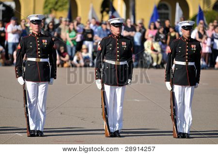 Standing At Attention - Members of the United States Marine Corps Silent Drill Team perform at a ceremony at MCRD San Diego on March 8th, 2008.
