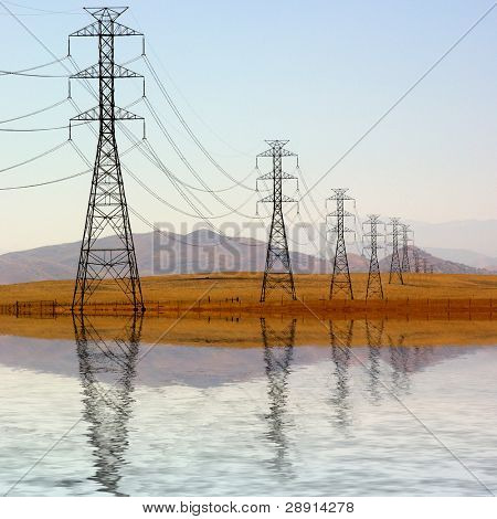 Power and Energy - towers holding wires extend off into the distance