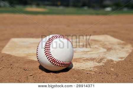 Baseball Season - a ball next to home plate with ballfield (out of focus) in background.