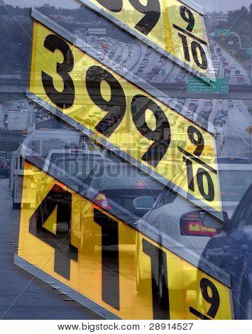 Altos precios de la gasolina - imagen compuesta de coches en tráfico (ninguno identificable) y gas firmar en el su