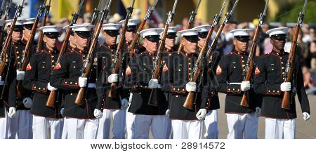 Members of the United States Marine Corps Silent Drill team performing on March 8th, 2008 at MCRD, San Diego, California (USA)