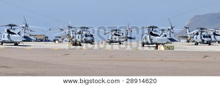 Helicopters on the tarmac - rows of United States Marine Corps Helicopters parked at North Island Naval Air Station in San Diego