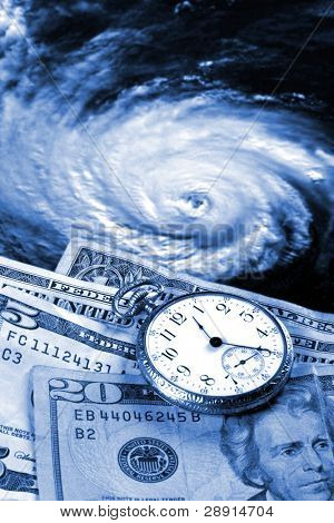 Cost of a hurricane - money, watch, Katrina (via NASA public domain imagery)