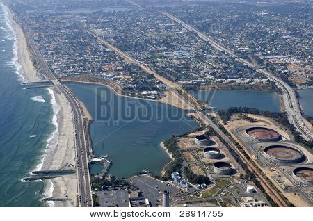 Aerial View of Carlsbad California (USA) including the powerplant and lagoon