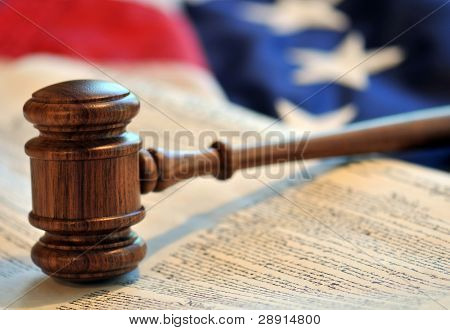 Judicial Branch of Government - gavel over a book with flag background