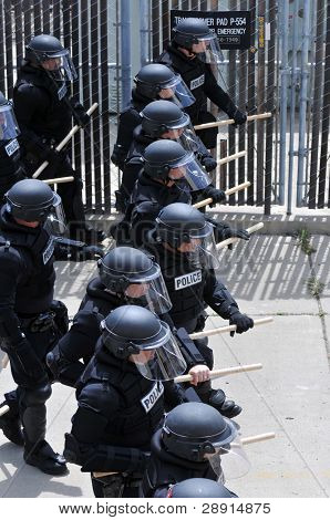Keeping the peace - police officers in riot gear.