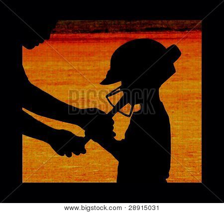 Mentoring Young Baseball Players - a silhouetted and colorful abstract image of a coach and little leaguer.