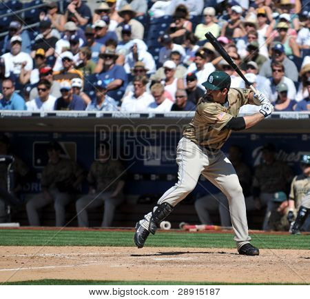June 22, 2008 - Adrian Gonzales, San Diego Padres slugging first baseman with a pretty left-handed swing. Taken at Petco Park versus Detroit Tigers.